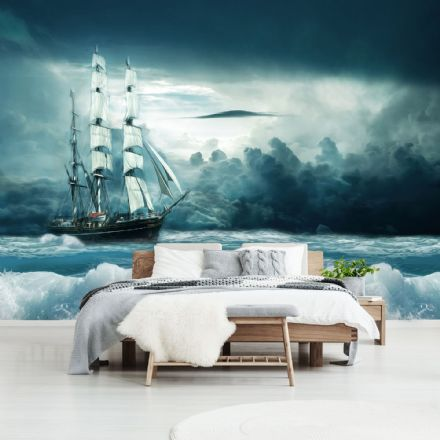 Sailing ship photo wallpaper for bedroom